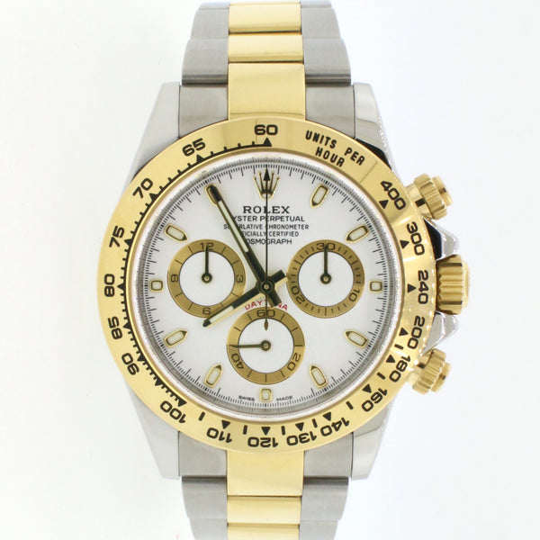 Rolex Cosmograph Daytona 18K Yellow Gold/Stainless Steel 40mm Watch 116503 Box Papers