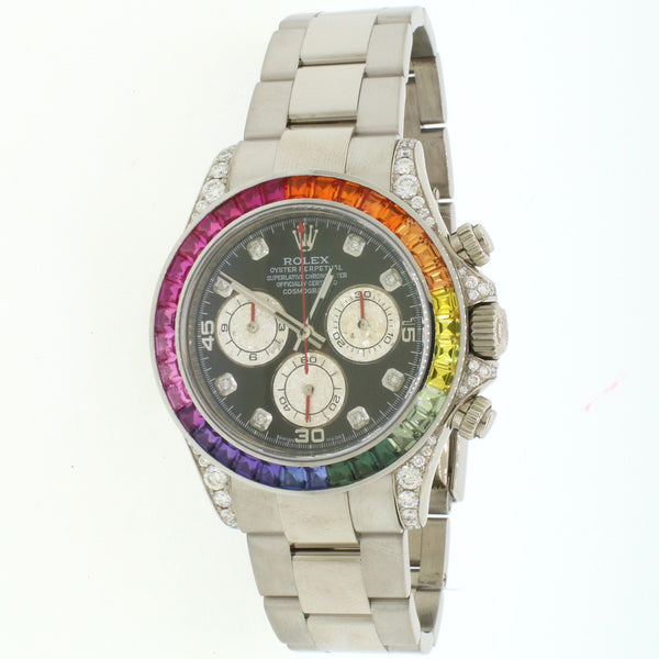 Rolex Cosmograph Daytona 40mm 18K White Gold Watch With Rainbow Bezel