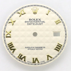 Rolex Datejust 2-Tone Yellow Gold/Steel 36mm Cream Pyramid Dial with Roman Numerals