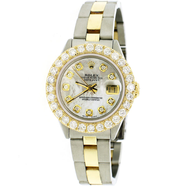 Rolex Datejust 26mm Yellow Gold/SS Jubilee Watch w/White MOP Diamond Dial & Bezel