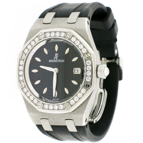 Audemars Piguet Lady Royal Oak Factory Diamond Bezel 33mm Black Dial Steel Watch 67601ST.ZZ.D002CR.01