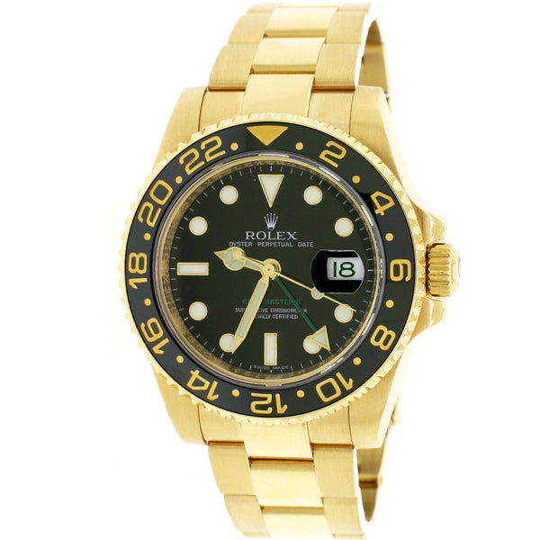 Rolex GMT-Master II 18K Yellow Gold Ceramic Bezel 40mm Watch 116718