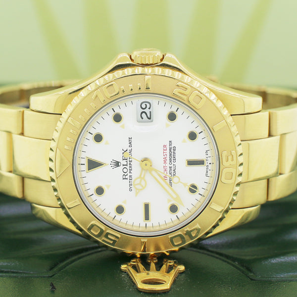 Rolex Yacht-Master Yellow Gold Midsize 35mm Automatic Watch 68628 Box Papers