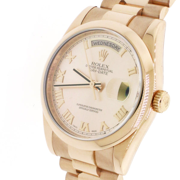 Rolex President Day-Date 18K Everose Pink Roman Dial 36mm Automatic Mens 118205 Box & Papers