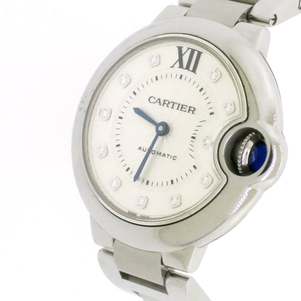 Cartier Ballon Bleu Stainless Steel Factory Diamond Dial 33mm Watch