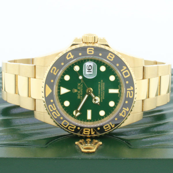Rolex GMT-Master II Green Dial 18K Yellow Gold 40MM Automatic Mens Oyster Watch 116718 Box & Papers