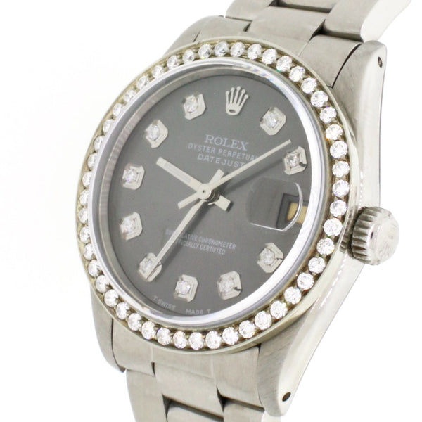 Rolex Datejust Midsize 31MM Automatic Stainless Steel Oyster Watch w/Rhodium Diamond Dial & Bezel
