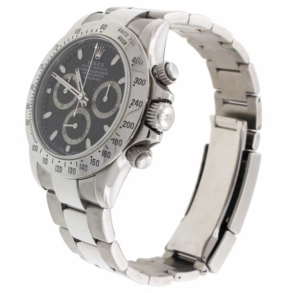Rolex Cosmograph Daytona Black Dial 40MM Automatic Stainless Steel Mens Watch 116520