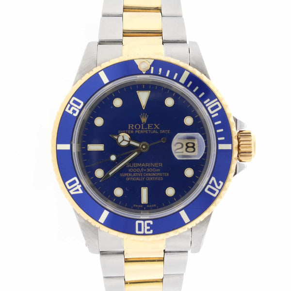 Rolex Submariner 2-Tone 18K Yellow Gold/Stainless Steel Blue Bezel & Dial Mens Oyster Watch 16613