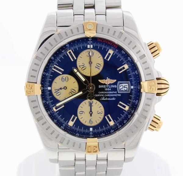 Breitling Chronomat Evolution 2-Tone 18K Yellow Gold/Steel Automatic Mens Watch B13356