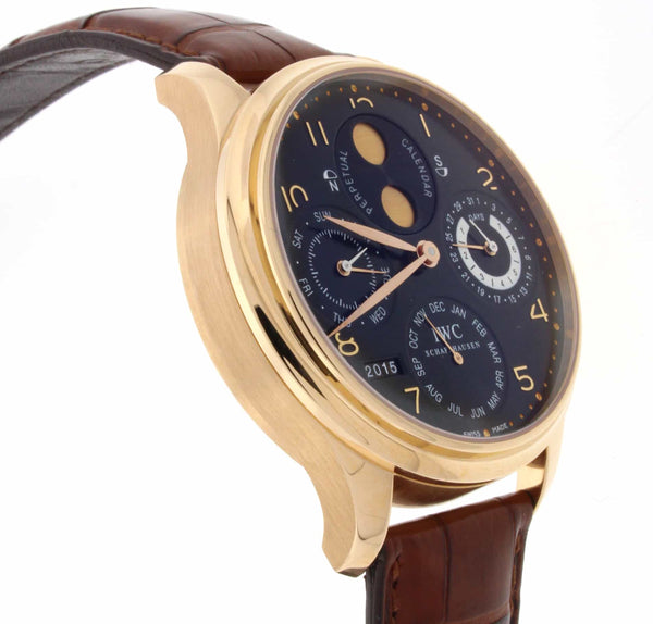 IWC Portuguese Calendar Moonphase 18K Rose Gold 44MM Automatic Mens Watch IW503202