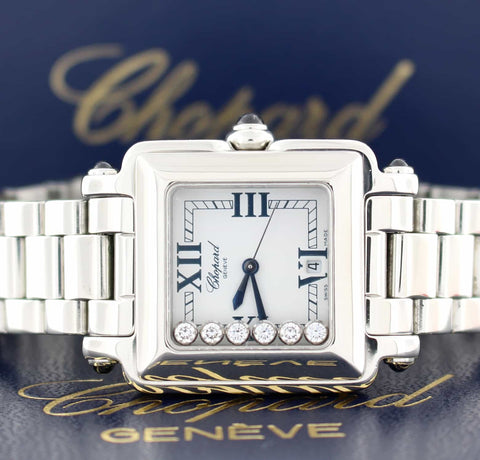Chopard Happy Sport Square Floating Diamonds Stainless Steel Ladies Watch 27834923