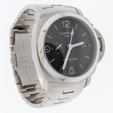 2012 Panerai Luminor GMT 44MM Automatic Stainless Steel Mens Watch PAM329