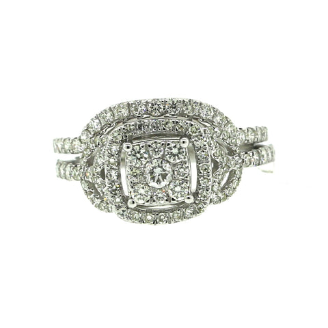 14K White Gold 0.97ct Diamond Ring Engagement Ring