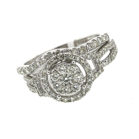 14K White Gold 0.98ct Diamond Ring Engagement Ring