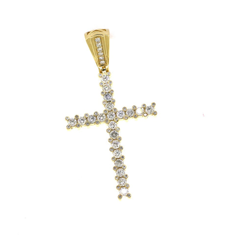 14K Yellow Gold 2.65CT VS Diamonds Cross Pendant