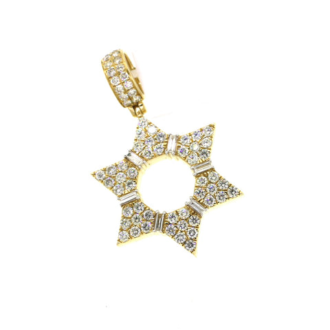 14K Yellow Gold 2.58CT VS Diamonds Star Pendant