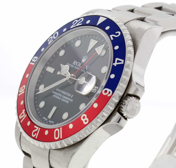 Rolex GMT-Master II Pepsi Bezel Black Dial 40MM Automatic Steel Mens Watch 16710