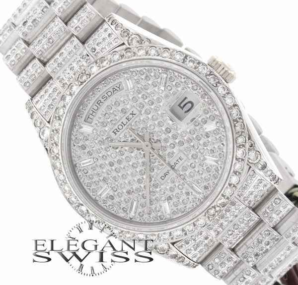 Rolex Day-Date 18K White Gold Double Quickset Diamond Dial 36MM Mens Diamond Watch 18239