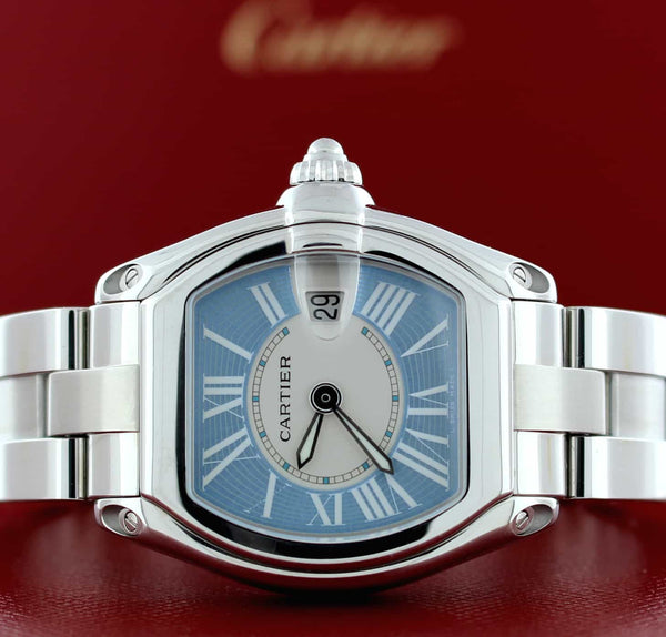 Cartier Roadster Ladies Sky Blue Dial 30MM Stainless Steel Watch W62053V3