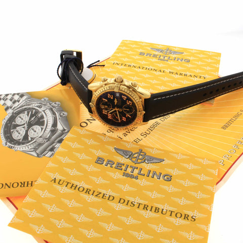 Breitling Chonomat Vitesse 18K Yellow Gold Black Dial Chronograph Automatic Mens Watch K13350