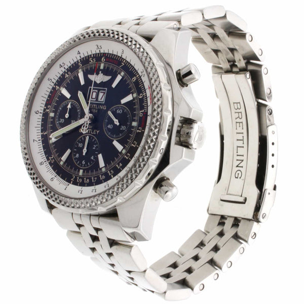 Breitling Bentley 6.75 Chronograph Black Dial Big Date Automatic Mens Watch A44362