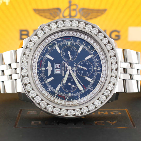 Breitling Bentley 6.75 Chronograph Blue Dial Big Date with 8.0 Ct Diamond Bezel Automatic Mens Watch A44362