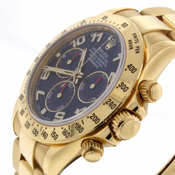 Rolex Cosmograph Daytona 18K Yellow Gold Blue Dial Automatic Mens Watch 116528