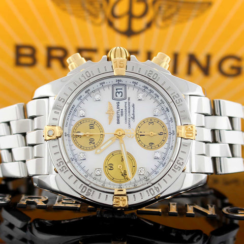 Breitling Chrono Cockpit 2-Tone 18K Yellow Gold & Stainless Steel Mother of Pearl Diamond Dial Automatic Mens Watch B13357