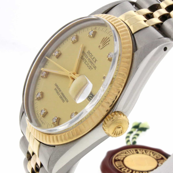 Rolex Datejust Original Champagne Diamond Dial 2-Tone 18K Yellow Gold & Stainless Steel 36MM Watch 16013