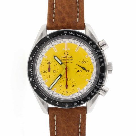 Omega Speedmaster Chronograph Michael Schumacher Yellow Dial Automatic 39MM Stainless Steel Mens Watch 351012