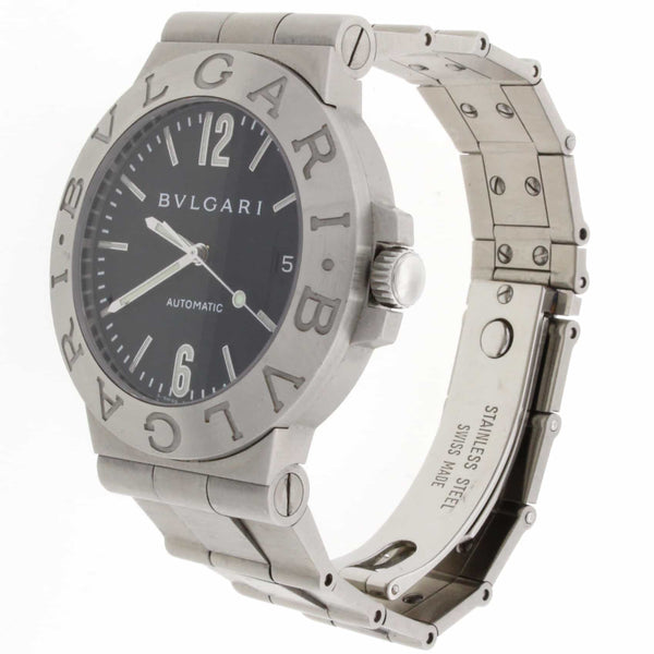 Bvlgari Diagono Black Dial 38MM Stainless Steel Automatic Mens Watch LCV38S