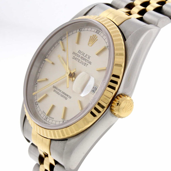 Rolex Datejust 2-Tone 18K Yellow Gold & Stainless Steel Silver Dial 36MM Automatic Mens Watch R16233