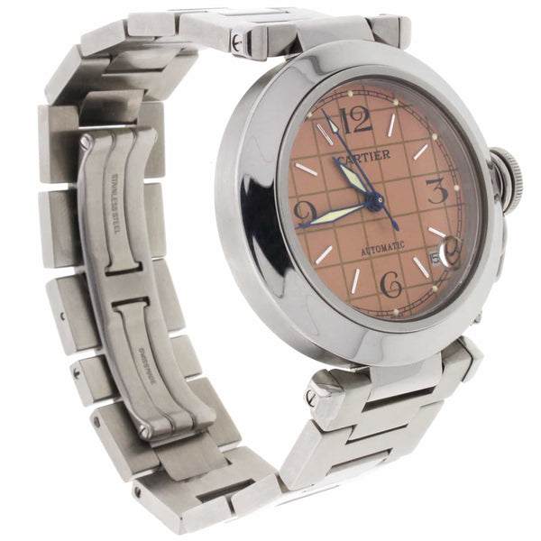 Cartier Pasha C Midsize Salmon Grid Dial 35MM Automatic Stainless Steel Watch W31023M7