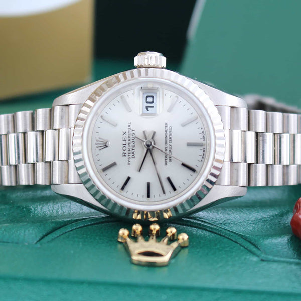 Rolex President Datejust Ladies 18K White Gold Silver Dial Automatic Watch 79179