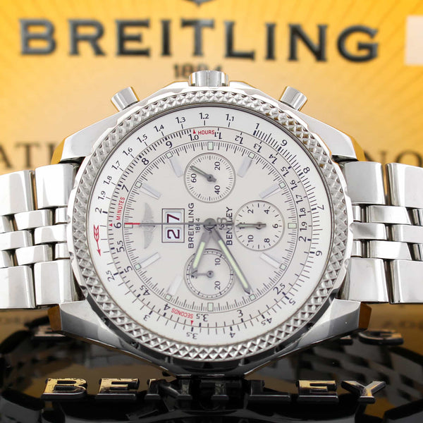 Breitling Bentley 6.75 Chronograph Ivory Dial Big Date Automatic Mens Watch A44362