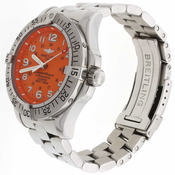 Breitling SuperOcean Orange Dial 42MM Automatic Stainless Steel Mens Watch A17360