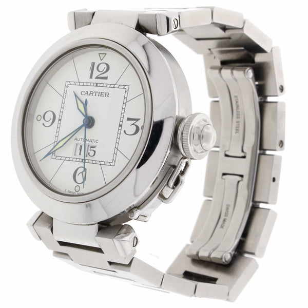 Cartier Pasha C Big Date White Dial 35MM Automatic Stainless Steel Mens Watch W31044M7