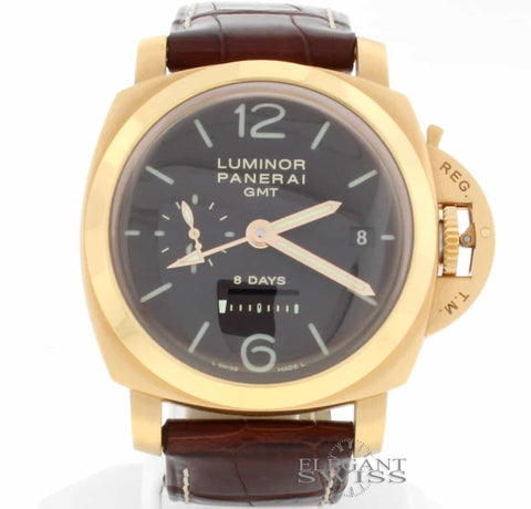 Panerai Luminor 1950 8 Days GMT 18K Pink Gold Limited Edition Automatic Mens Watch PAM289