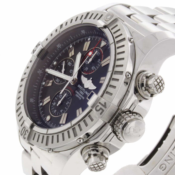Breitling Super Avenger 49MM Chronograph Black Dial Automatic Stainless Steel Mens Watch A13370