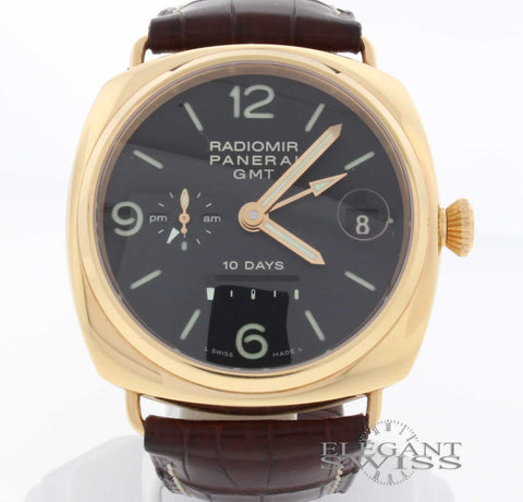 Panerai Radiomir 10 Days GMT 18K Pink Gold Automatic Mens Watch PAM273
