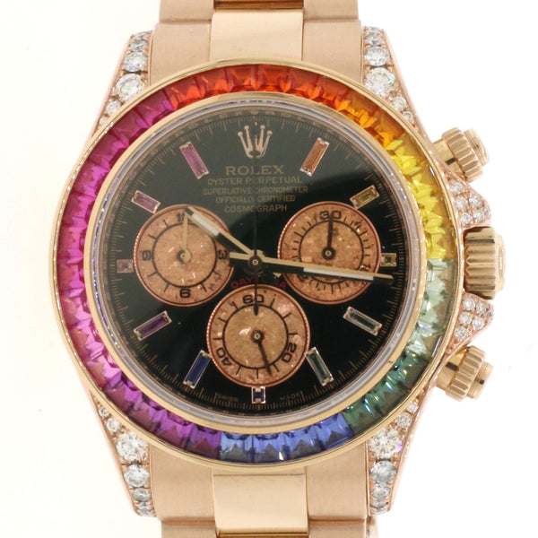 Rolex Cosmograph Daytona 40mm Rose Gold Watch 116505 Rainbow Bezel