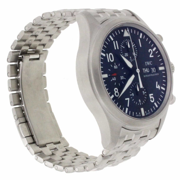 IWC Pilots Chronograph 42MM Automatic Day Date Stainless Steel Mens Watch IW371704