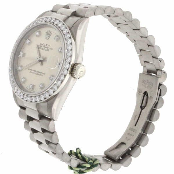 Rolex President Midsize Original Diamond Dial White Gold 31MM Automatic Watch 68279