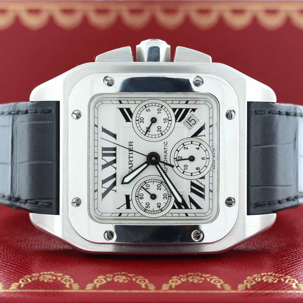 Cartier Santos 100 Chronograph XL Automatic Stainless Steel Mens Watch W20090X8