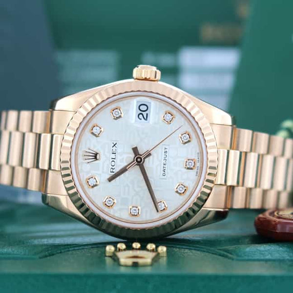 Rolex President Jubilee Diamond Dial 18K Rose Gold Midsize Ladies Watch 178275