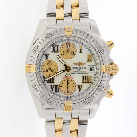 Breitling Chrono Cockpit 18K Yellow Gold/Stainless Steel 39MM Automatic Mens Watch B13358
