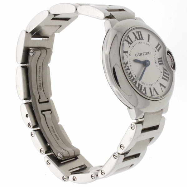 Cartier Ballon Bleu Ladies Factory Silver Roman Dial 29MM Stainless Steel Watch W69010Z4