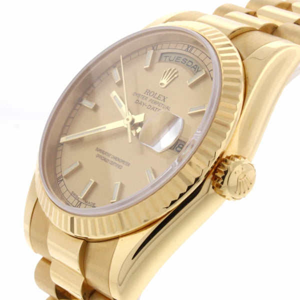 Rolex President Day-Date 18K Yellow Gold 36MM Automatic Mens Watch 118238