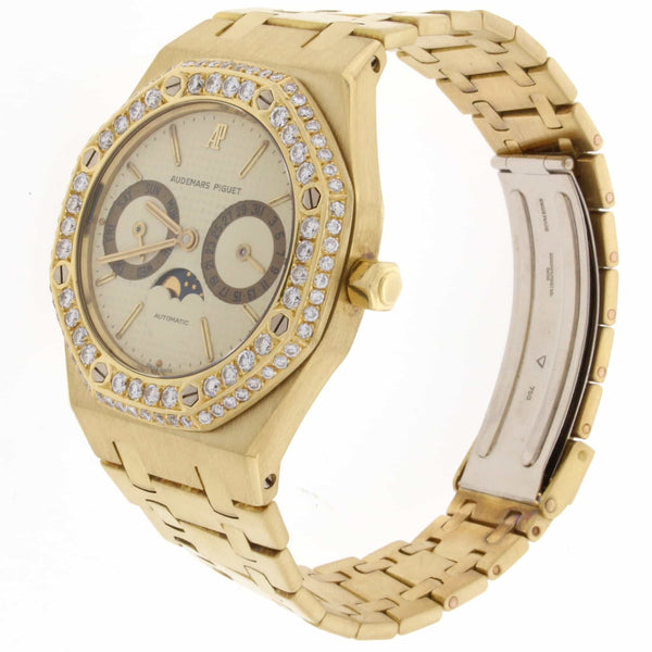 Audemars Piguet Royal Oak Day-Date Moonphase Calendar 18K Yellow Gold Automatic Mens Watch w/Diamond Bezel